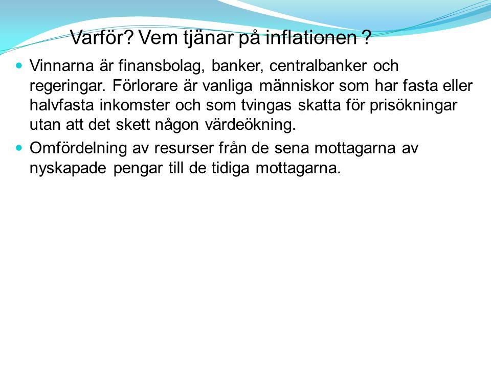 Varför.Vem tjänar på inflationen . Vinnarna är finansbolag, banker, centralbanker och regeringar.