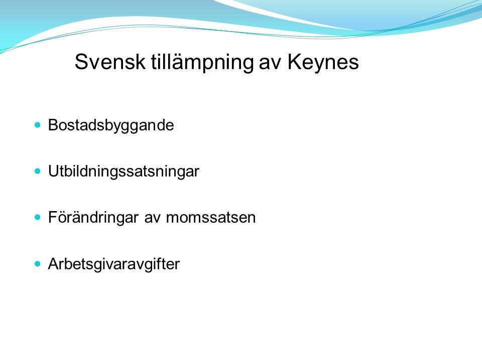 Svensk tillämpning av Keynes Bostadsbyggande Utbildningssatsningar Förändringar av momssatsen Arbetsgivaravgifter