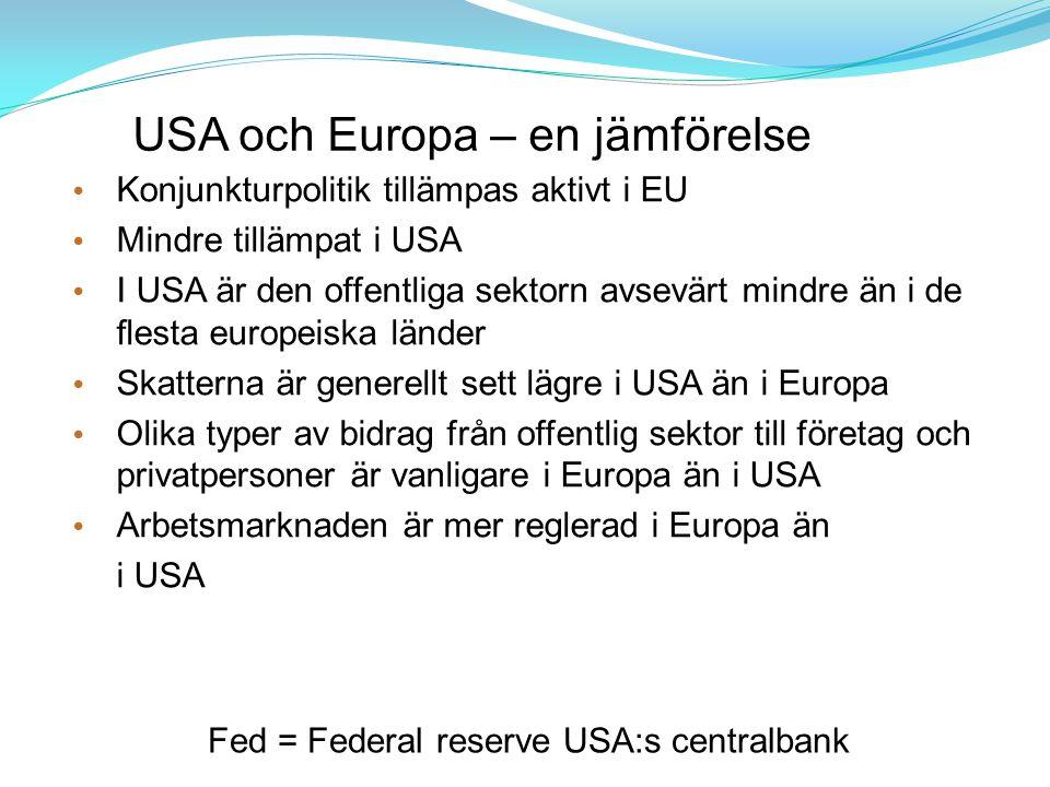 USA och Europa – en jämförelse Konjunkturpolitik tillämpas aktivt i EU Mindre tillämpat i USA I USA är den offentliga sektorn avsevärt mindre än i de flesta europeiska länder Skatterna är generellt sett lägre i USA än i Europa Olika typer av bidrag från offentlig sektor till företag och privatpersoner är vanligare i Europa än i USA Arbetsmarknaden är mer reglerad i Europa än i USA Fed = Federal reserve USA:s centralbank
