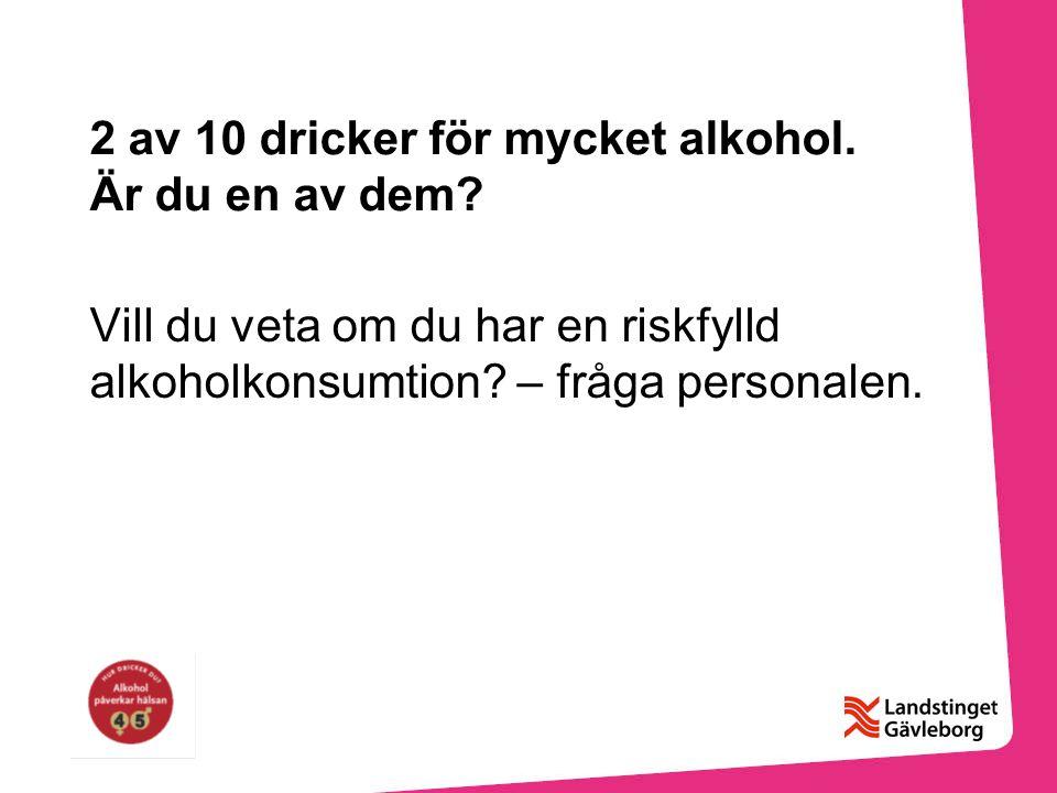 2 av 10 dricker för mycket alkohol.Är du en av dem.