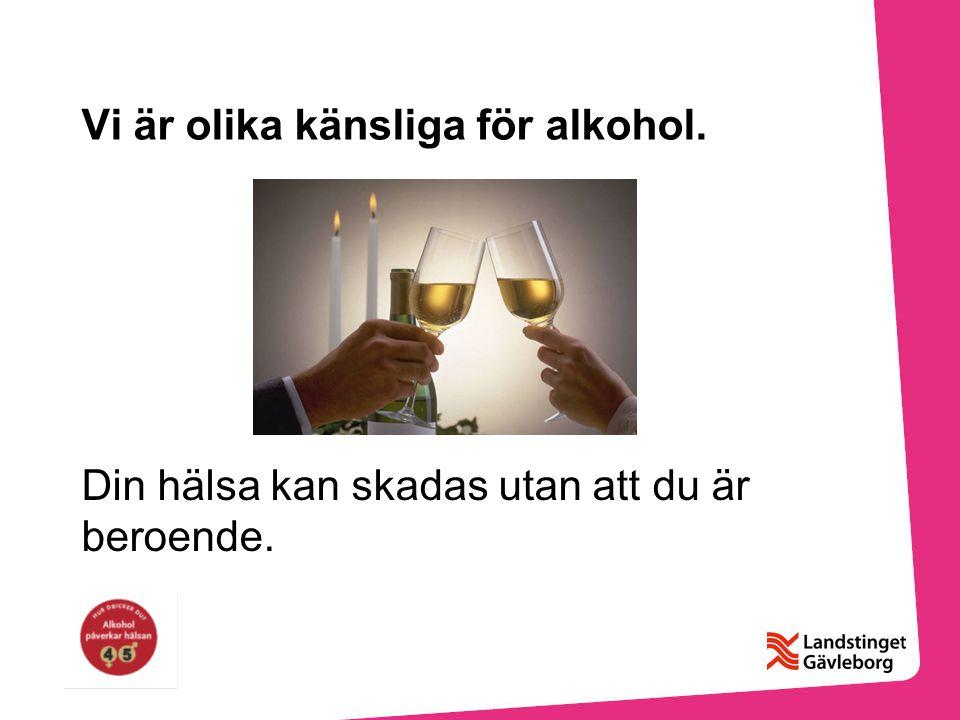 Vi är olika känsliga för alkohol. Din hälsa kan skadas utan att du är beroende.