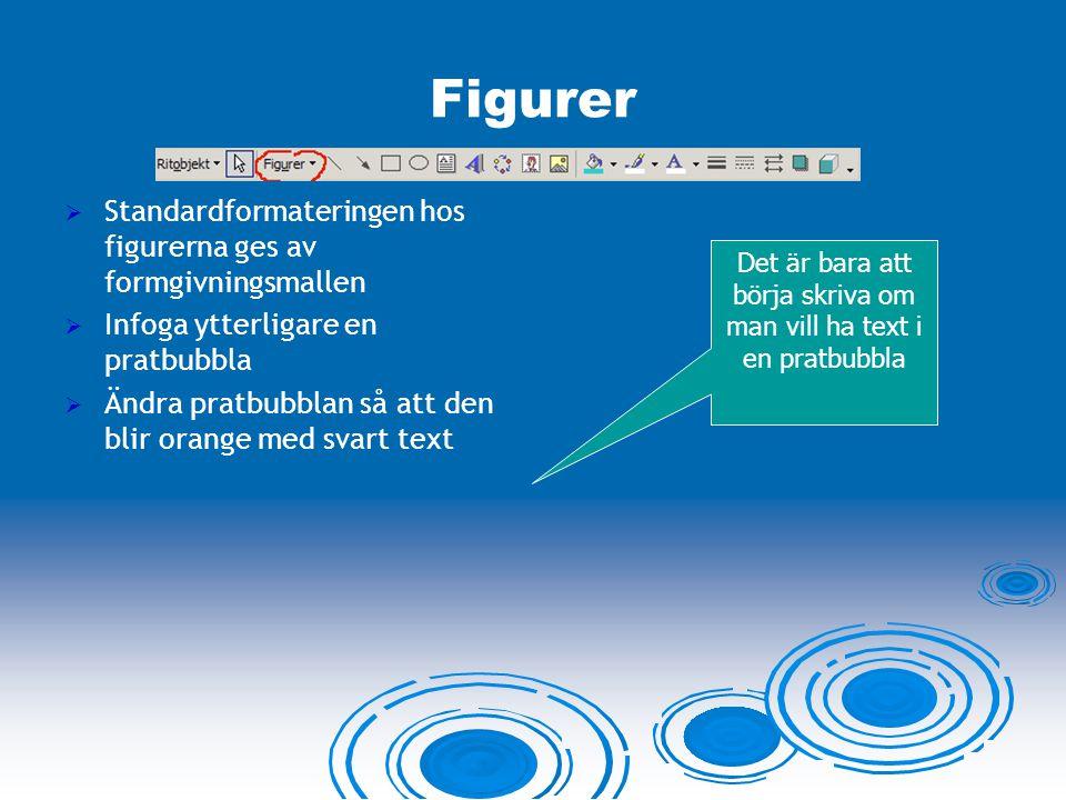 Figurer  Standardformateringen hos figurerna ges av formgivningsmallen  Infoga ytterligare en pratbubbla  Ändra pratbubblan så att den blir orange