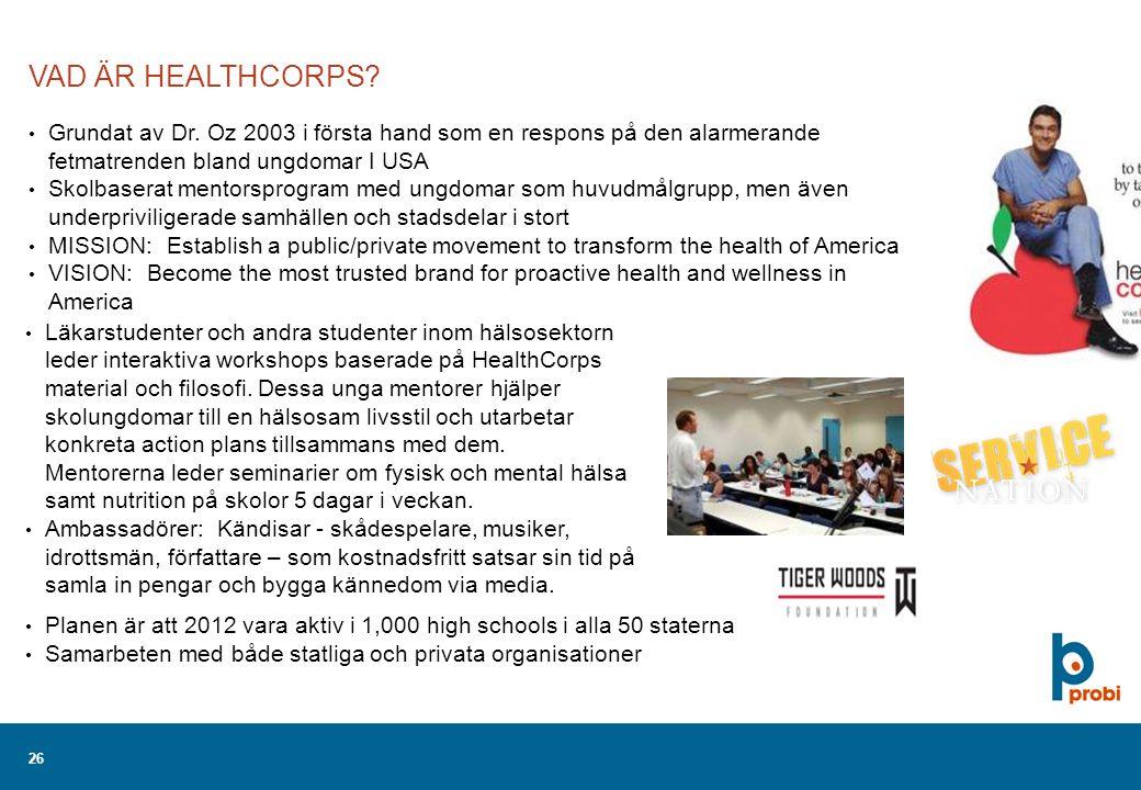 26 VAD ÄR HEALTHCORPS. Grundat av Dr.