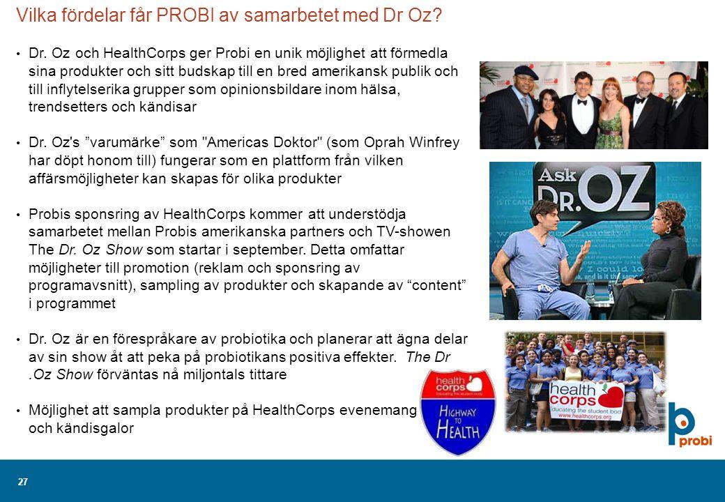 27 Vilka fördelar får PROBI av samarbetet med Dr Oz.