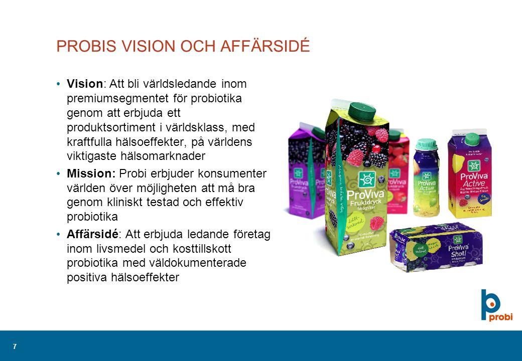 7 PROBIS VISION OCH AFFÄRSIDÉ Vision: Att bli världsledande inom premiumsegmentet för probiotika genom att erbjuda ett produktsortiment i världsklass, med kraftfulla hälsoeffekter, på världens viktigaste hälsomarknader Mission: Probi erbjuder konsumenter världen över möjligheten att må bra genom kliniskt testad och effektiv probiotika Affärsidé: Att erbjuda ledande företag inom livsmedel och kosttillskott probiotika med väldokumenterade positiva hälsoeffekter
