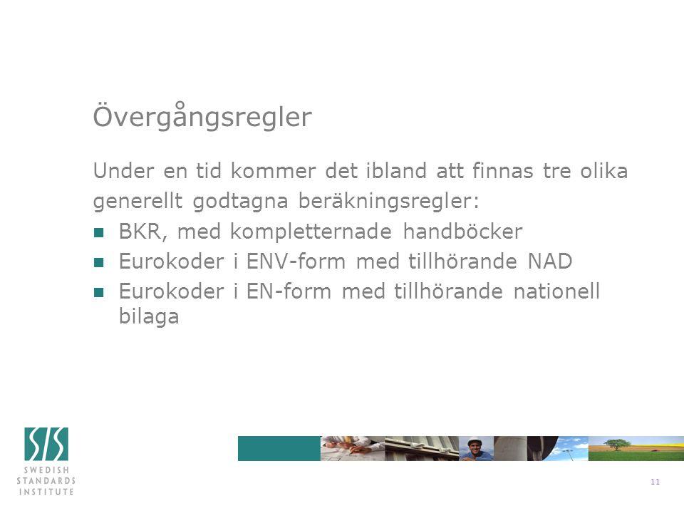 11 Under en tid kommer det ibland att finnas tre olika generellt godtagna beräkningsregler: n BKR, med kompletternade handböcker n Eurokoder i ENV-form med tillhörande NAD n Eurokoder i EN-form med tillhörande nationell bilaga Övergångsregler