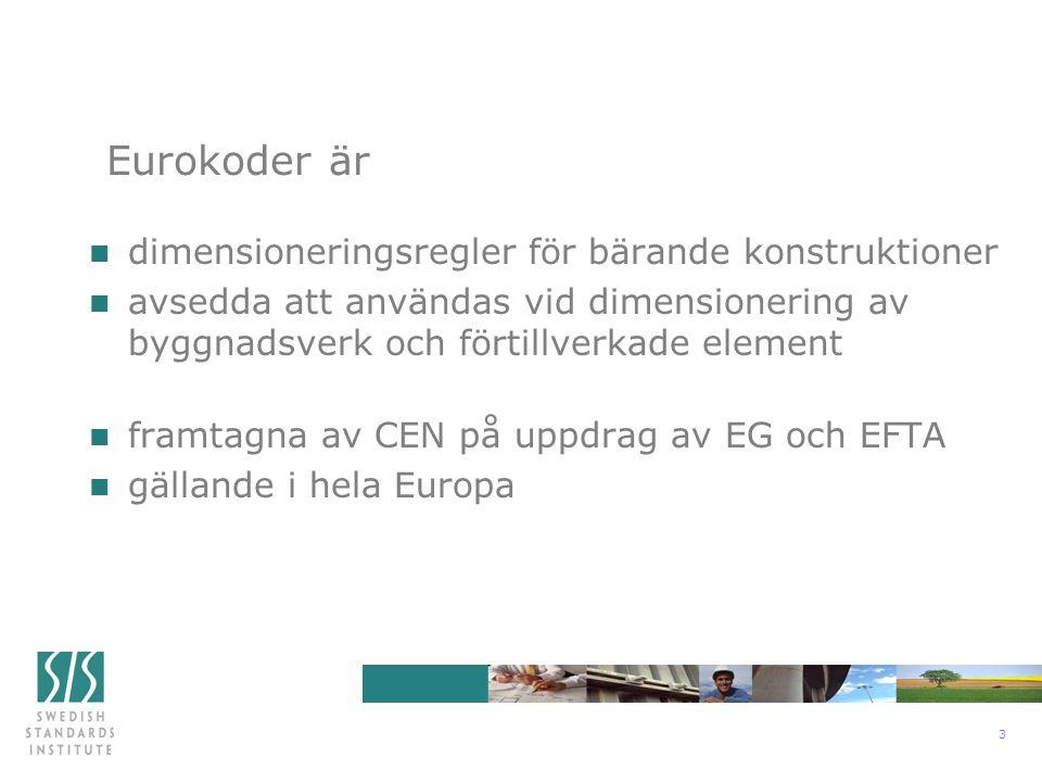 3 n dimensioneringsregler för bärande konstruktioner n avsedda att användas vid dimensionering av byggnadsverk och förtillverkade element n framtagna av CEN på uppdrag av EG och EFTA n gällande i hela Europa Eurokoder är
