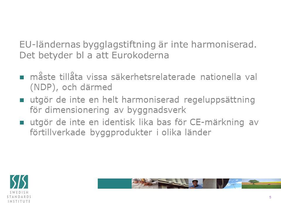 6 n omgående fastställa dem som svensk standard n översätta dem till svenska (i normalfallet) n myndigheterna ändrar/preciserar sina föreskrifter och allmänna råd, bl a vad gäller de nationellt valda parametrarna (NDP) n myndigheternas valda parameterar publiceras i en bilaga till Eurokoden, dessutom separat på engelska Eurokoderna implementeras genom att