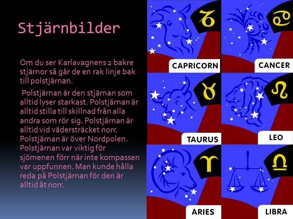 Stjärnbilder Om du ser Karlavagnens 2 bakre stjärnor så går de en rak linje bak till polstjärnan. Polstjärnan är den stjärnan som alltid lyser starkas