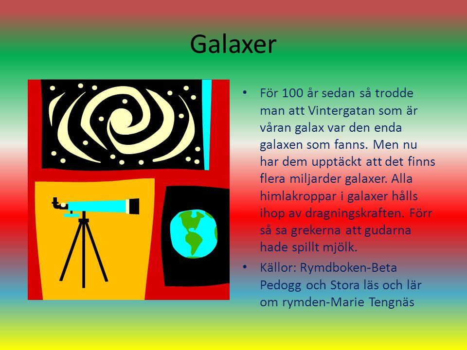 Galaxer För 100 år sedan så trodde man att Vintergatan som är våran galax var den enda galaxen som fanns. Men nu har dem upptäckt att det finns flera