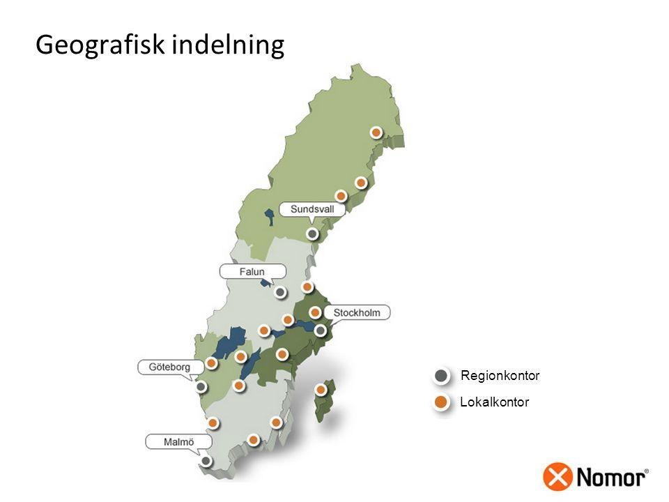 Regionkontor Lokalkontor Geografisk indelning