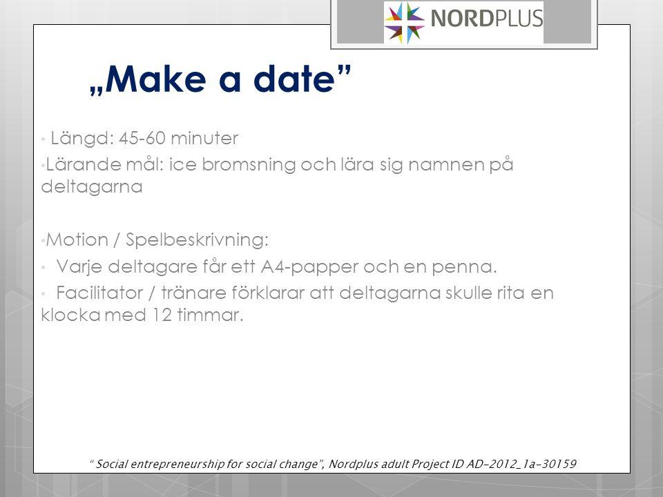 """""""Make a date Längd: 45-60 minuter Lärande mål: ice bromsning och lära sig namnen på deltagarna Motion / Spelbeskrivning: Varje deltagare får ett A4-papper och en penna."""