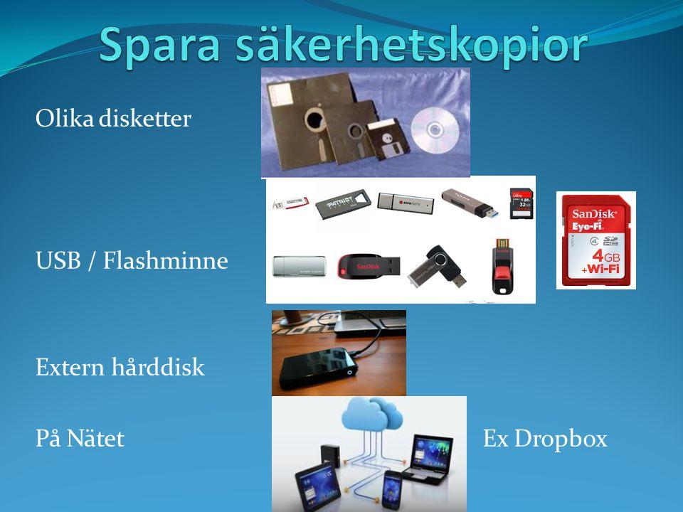 Olika disketter USB / Flashminne Extern hårddisk På Nätet Ex Dropbox