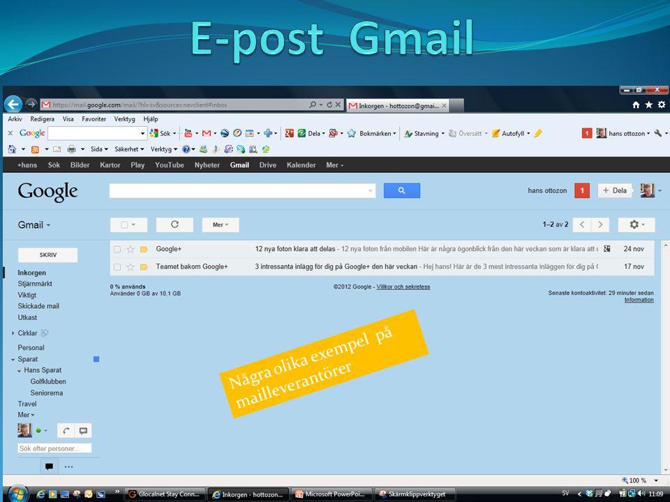 Några olika exempel på mailleverantörer