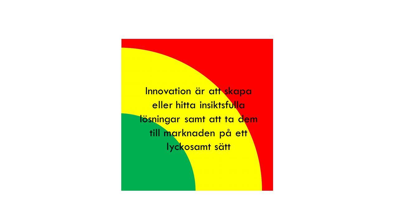 Kärnområdes innovation Optimera existerande produkter & tjänster för existerande mottagare Näraliggande innovation Expandera från existerande affär till något nytt för oss där vi kan använda det vi redan har Omdanande innovation Utveckla helt nya produkter och tjänster även för marknader som ännu inte existerar Produkter & Tjänster – Vad Optimera det vi har Skapa nya Helt nyaNya generationer Marknader & Kunder – Till Vem Serva existerande Fånga näraliggande