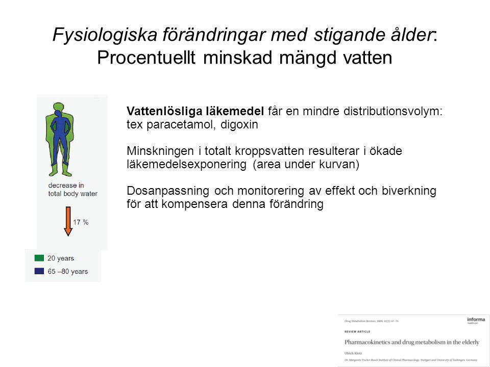Fysiologiska förändringar med stigande ålder: Procentuellt minskad mängd vatten Vattenlösliga läkemedel får en mindre distributionsvolym: tex paraceta