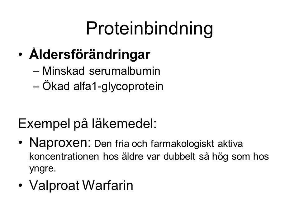 Proteinbindning Åldersförändringar –Minskad serumalbumin –Ökad alfa1-glycoprotein Exempel på läkemedel: Naproxen: Den fria och farmakologiskt aktiva k