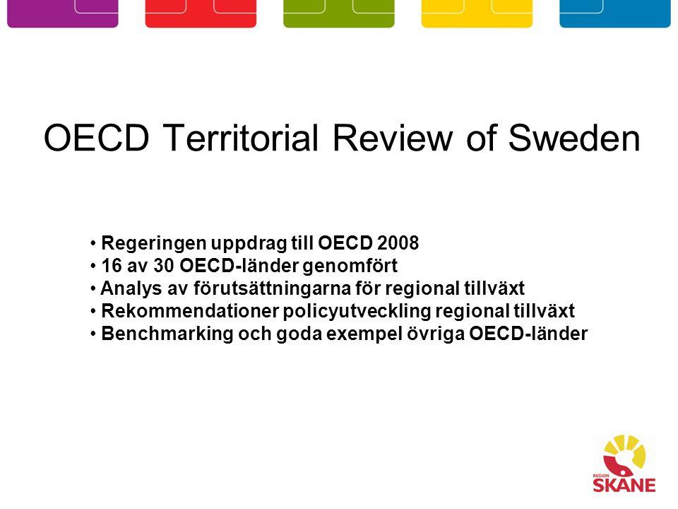 OECD Territorial Review of Sweden Regeringen uppdrag till OECD 2008 16 av 30 OECD-länder genomfört Analys av förutsättningarna för regional tillväxt R