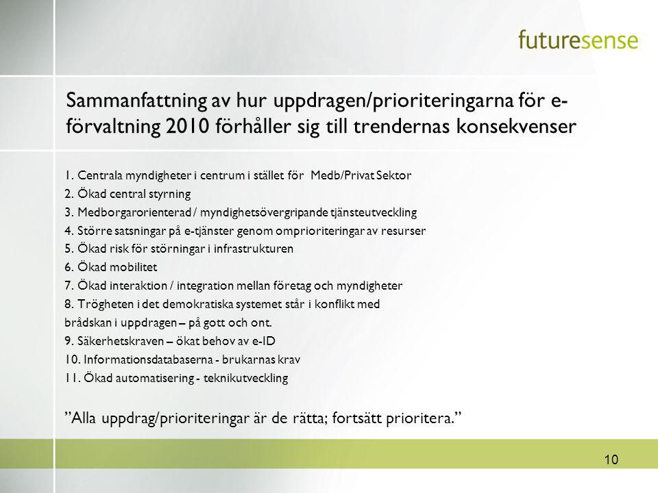 10 Sammanfattning av hur uppdragen/prioriteringarna för e- förvaltning 2010 förhåller sig till trendernas konsekvenser 1. Centrala myndigheter i centr