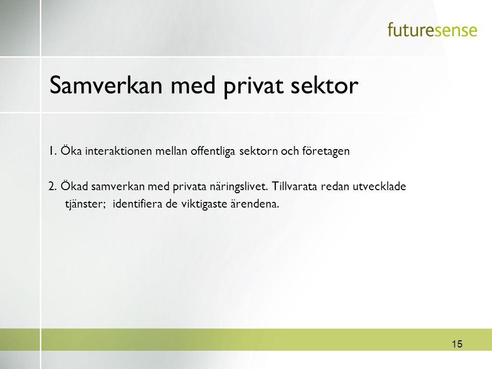 15 Samverkan med privat sektor 1. Öka interaktionen mellan offentliga sektorn och företagen 2. Ökad samverkan med privata näringslivet. Tillvarata red