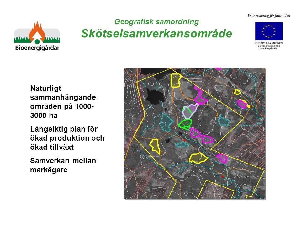 Geografisk samordning Skötselsamverkansområde Naturligt sammanhängande områden på 1000- 3000 ha Långsiktig plan för ökad produktion och ökad tillväxt Samverkan mellan markägare