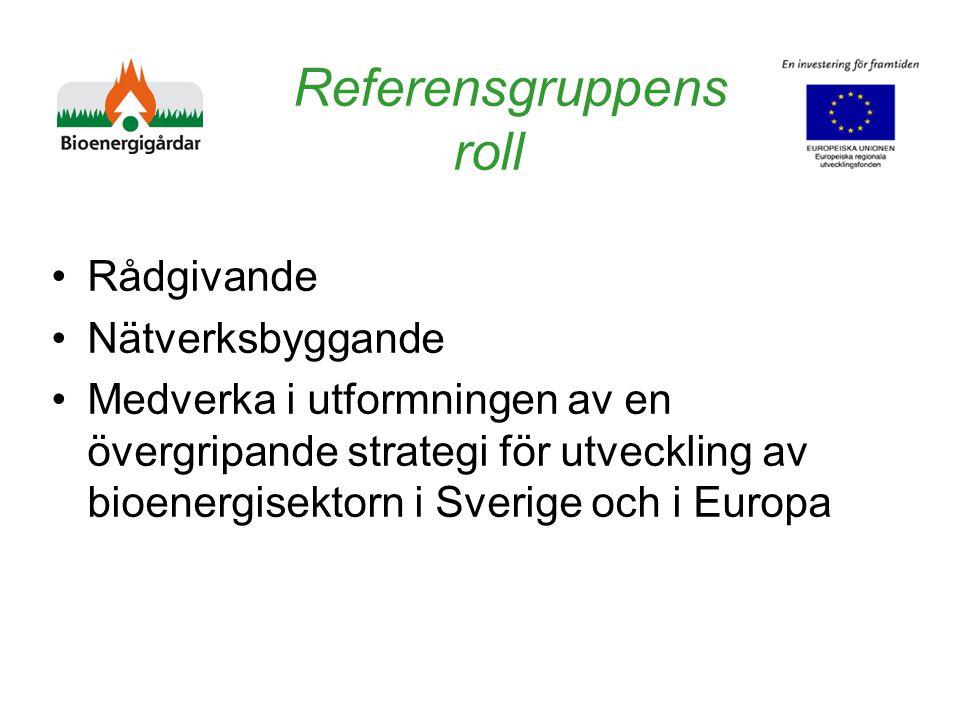 Referensgruppens roll Rådgivande Nätverksbyggande Medverka i utformningen av en övergripande strategi för utveckling av bioenergisektorn i Sverige och i Europa