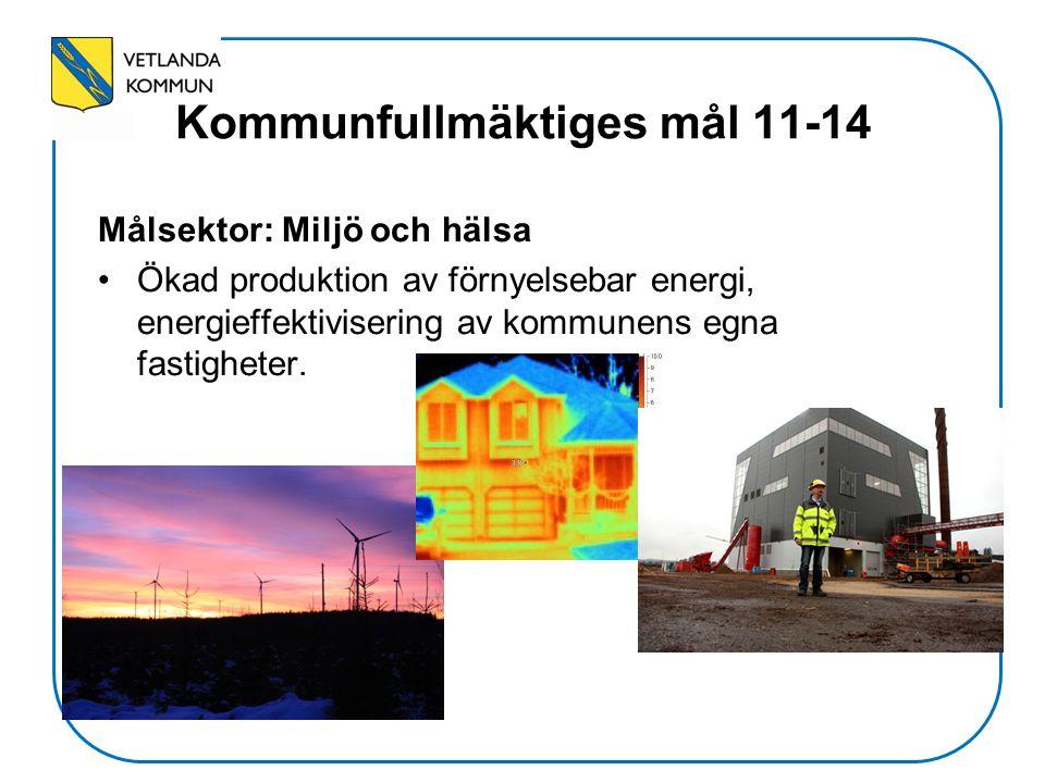 Kommunfullmäktiges mål 11-14 Målsektor: Miljö och hälsa Ökad produktion av förnyelsebar energi, energieffektivisering av kommunens egna fastigheter.