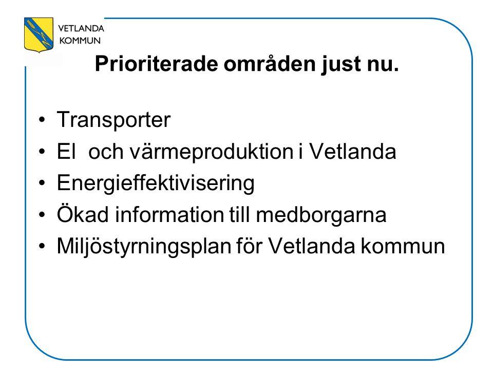 Transporter El och värmeproduktion i Vetlanda Energieffektivisering Ökad information till medborgarna Miljöstyrningsplan för Vetlanda kommun Prioriter