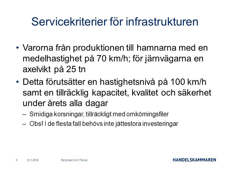 Varorna från produktionen till hamnarna med en medelhastighet på 70 km/h; för järnvägarna en axelvikt på 25 tn Detta förutsätter en hastighetsnivå på 100 km/h samt en tillräcklig kapacitet, kvalitet och säkerhet under årets alla dagar –Smidiga korsningar, tillräckligt med omkörningsfiler –Obs.