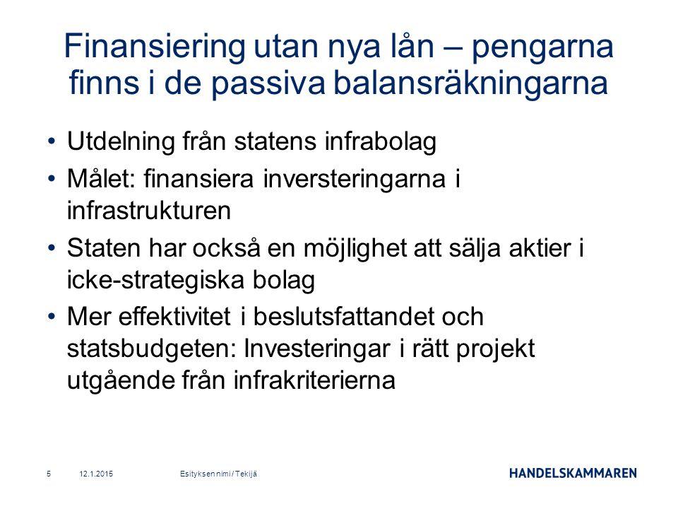 Utdelning från statens infrabolag Målet: finansiera inversteringarna i infrastrukturen Staten har också en möjlighet att sälja aktier i icke-strategiska bolag Mer effektivitet i beslutsfattandet och statsbudgeten: Investeringar i rätt projekt utgående från infrakriterierna 12.1.2015Esityksen nimi / Tekijä5 Finansiering utan nya lån – pengarna finns i de passiva balansräkningarna