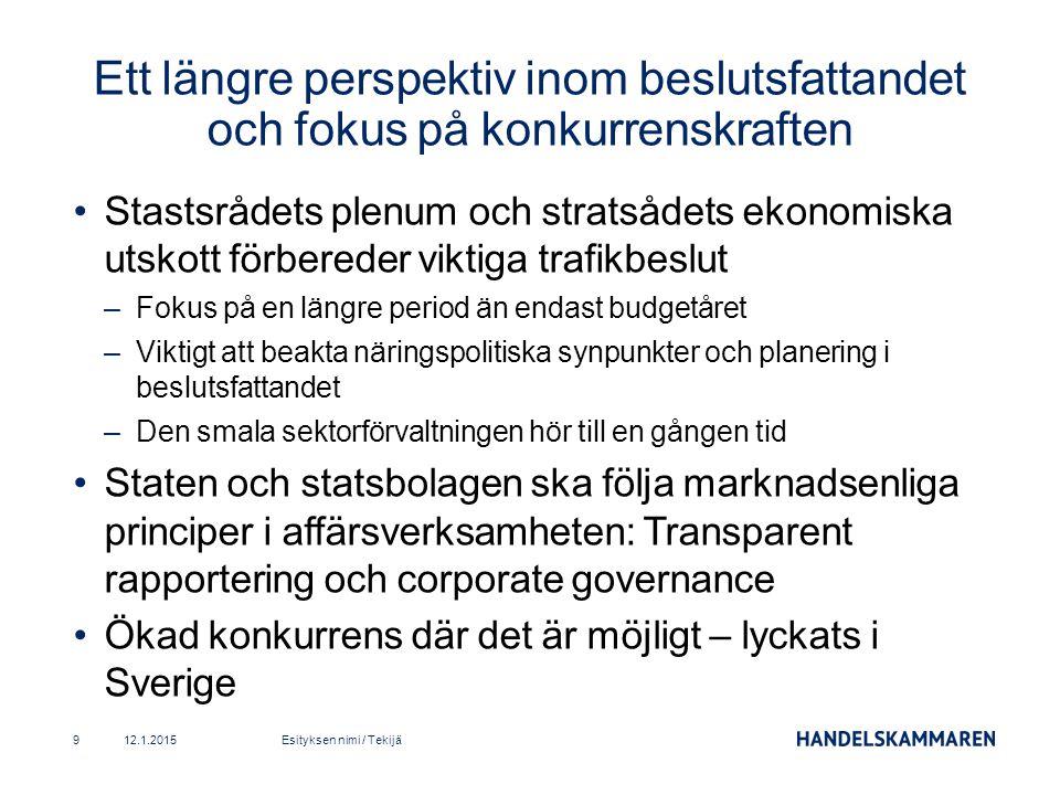 Stastsrådets plenum och stratsådets ekonomiska utskott förbereder viktiga trafikbeslut –Fokus på en längre period än endast budgetåret –Viktigt att beakta näringspolitiska synpunkter och planering i beslutsfattandet –Den smala sektorförvaltningen hör till en gången tid Staten och statsbolagen ska följa marknadsenliga principer i affärsverksamheten: Transparent rapportering och corporate governance Ökad konkurrens där det är möjligt – lyckats i Sverige 12.1.2015Esityksen nimi / Tekijä9 Ett längre perspektiv inom beslutsfattandet och fokus på konkurrenskraften