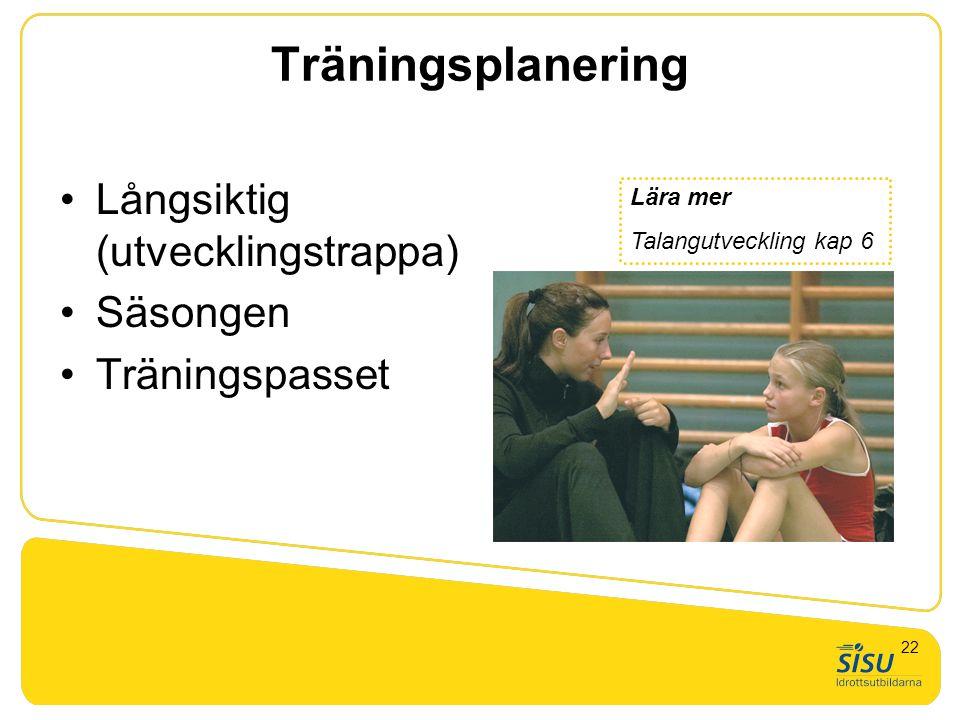 Träningsplanering Långsiktig (utvecklingstrappa) Säsongen Träningspasset Lära mer Talangutveckling kap 6 22