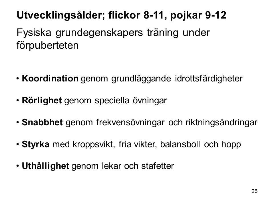 25 Utvecklingsålder; flickor 8-11, pojkar 9-12 Fysiska grundegenskapers träning under förpuberteten Koordination genom grundläggande idrottsfärdighete