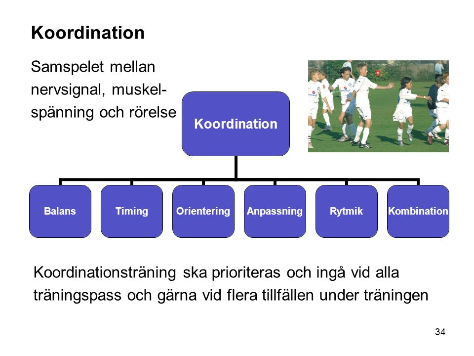 34 Koordination BalansTimingOrienteringAnpassningRytmikKombination Koordination Samspelet mellan nervsignal, muskel- spänning och rörelse Koordination