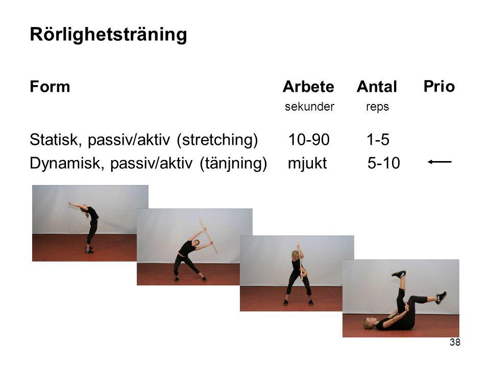 38 Rörlighetsträning Form Arbete Antal sekunder reps Statisk, passiv/aktiv (stretching) 10-90 1-5 Dynamisk, passiv/aktiv (tänjning) mjukt 5-10 Prio