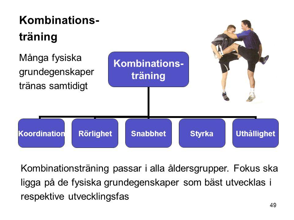 49 Kombinations- träning KoordinationRörlighetSnabbhetStyrkaUthållighet Kombinations- träning Många fysiska grundegenskaper tränas samtidigt Kombinati