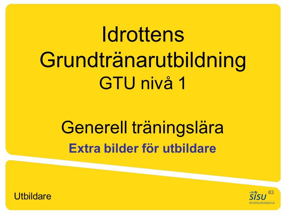 Idrottens Grundtränarutbildning GTU nivå 1 Generell träningslära Extra bilder för utbildare Utbildare 63