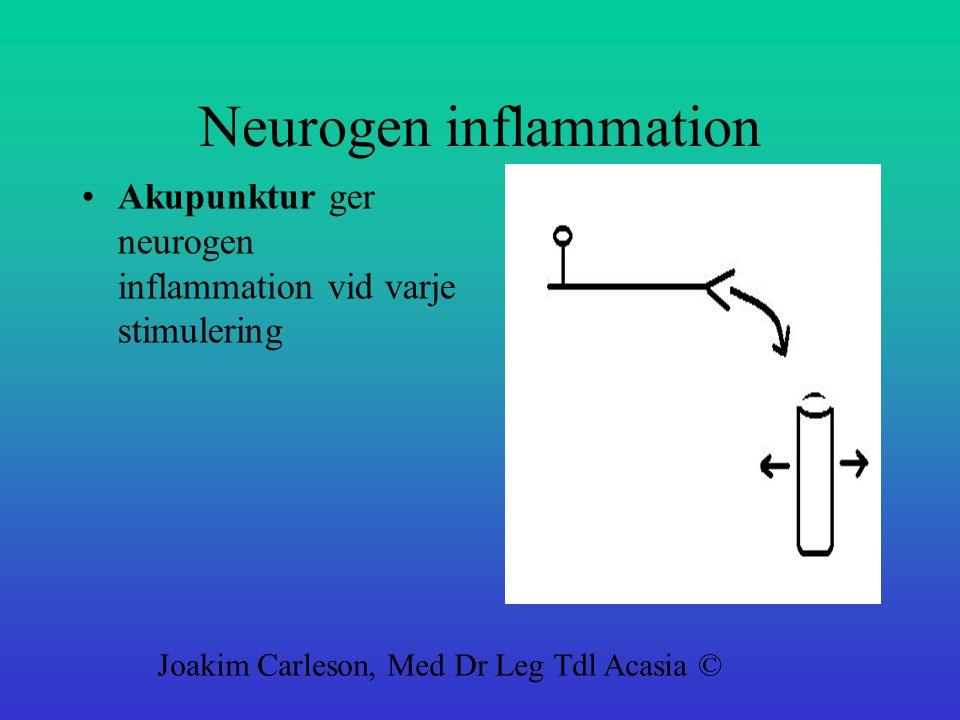 Neurogen inflammation Akupunktur ger neurogen inflammation vid varje stimulering Joakim Carleson, Med Dr Leg Tdl Acasia ©