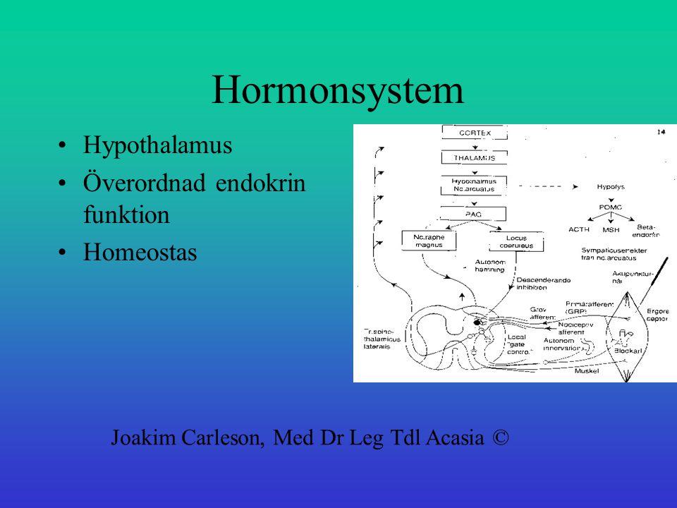 Hormonsystem Hypothalamus Överordnad endokrin funktion Homeostas Joakim Carleson, Med Dr Leg Tdl Acasia ©
