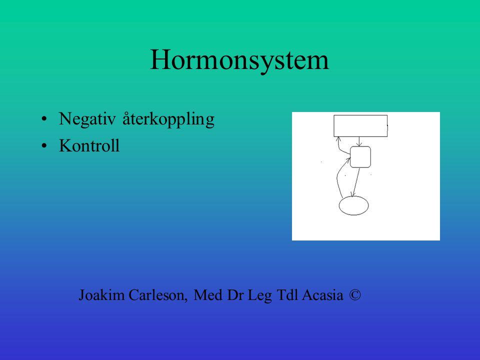 Hormonsystem Negativ återkoppling Kontroll Joakim Carleson, Med Dr Leg Tdl Acasia ©