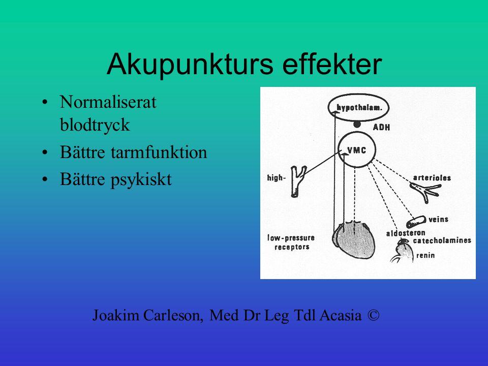 Akupunkturs effekter Normaliserat blodtryck Bättre tarmfunktion Bättre psykiskt Joakim Carleson, Med Dr Leg Tdl Acasia ©