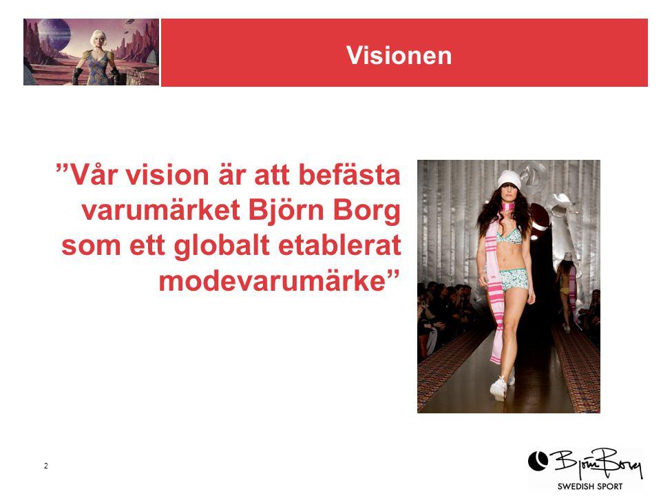 2 Vår vision är att befästa varumärket Björn Borg som ett globalt etablerat modevarumärke Visionen