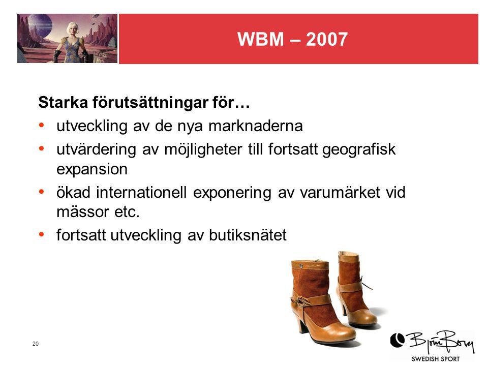 20 WBM – 2007 Starka förutsättningar för… utveckling av de nya marknaderna utvärdering av möjligheter till fortsatt geografisk expansion ökad internationell exponering av varumärket vid mässor etc.