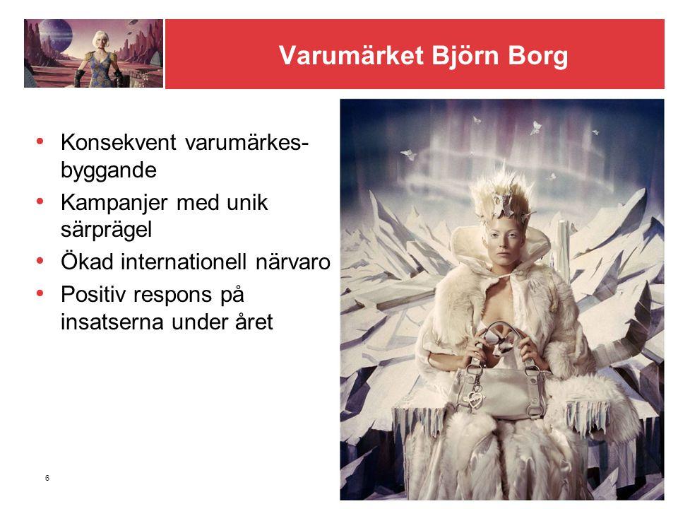 6 Varumärket Björn Borg Konsekvent varumärkes- byggande Kampanjer med unik särprägel Ökad internationell närvaro Positiv respons på insatserna under året