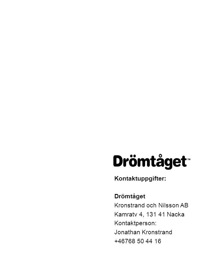 Kontaktuppgifter: Drömtåget Kronstrand och Nilsson AB Kamratv 4, 131 41 Nacka Kontaktperson: Jonathan Kronstrand +46768 50 44 16