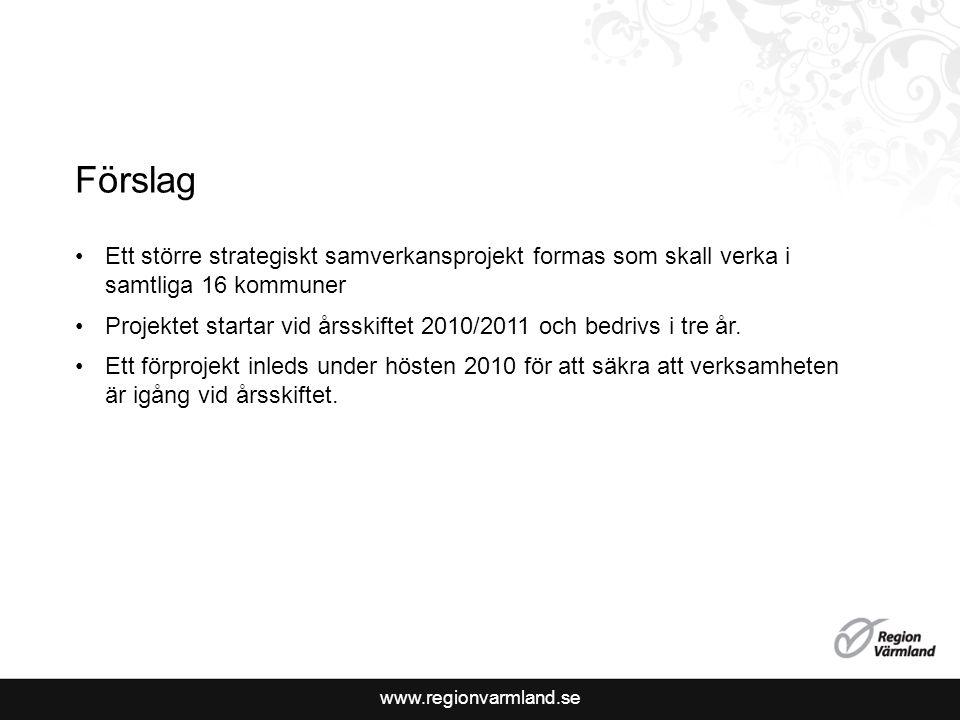 www.regionvarmland.se Förslag Ett större strategiskt samverkansprojekt formas som skall verka i samtliga 16 kommuner Projektet startar vid årsskiftet 2010/2011 och bedrivs i tre år.