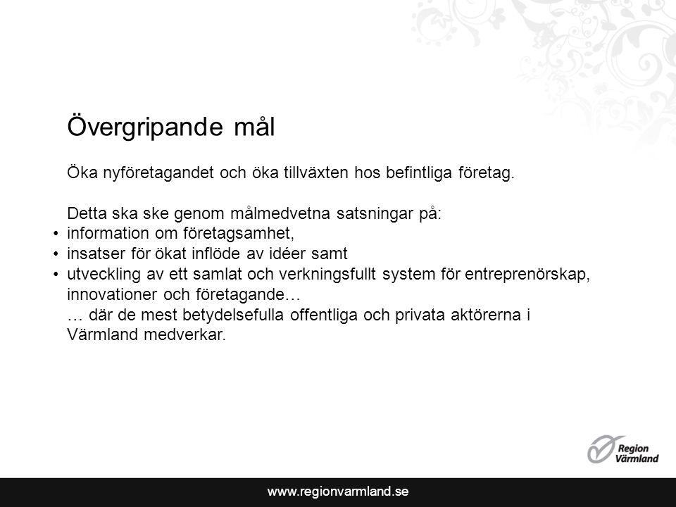 www.regionvarmland.se Övergripande mål Öka nyföretagandet och öka tillväxten hos befintliga företag.