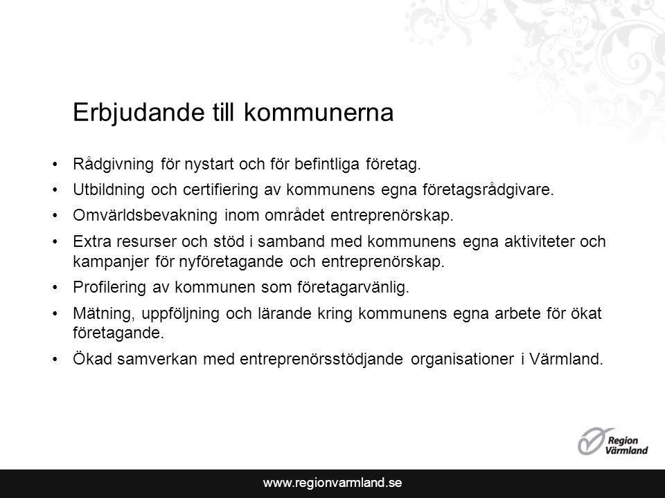 www.regionvarmland.se Erbjudande till kommunerna Rådgivning för nystart och för befintliga företag.