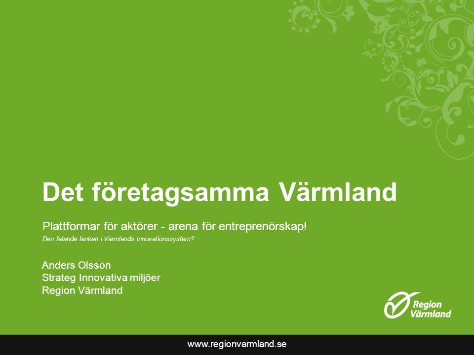 www.regionvarmland.se Det företagsamma Värmland Plattformar för aktörer - arena för entreprenörskap.