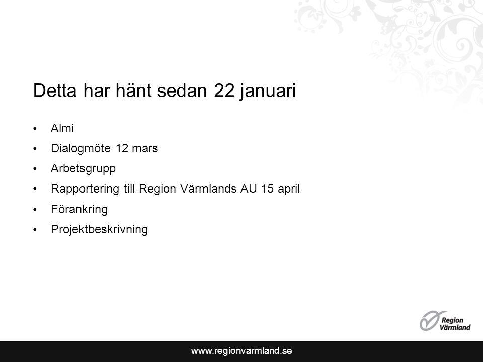 www.regionvarmland.se Detta har hänt sedan 22 januari Almi Dialogmöte 12 mars Arbetsgrupp Rapportering till Region Värmlands AU 15 april Förankring Projektbeskrivning